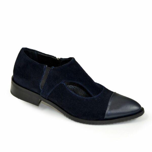 Женские синие туфли с острым носком на низком ходу, натуральная кожа и замша