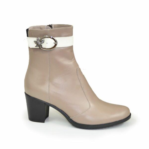Женские кожаные зимние ботинки, цвет визон/беж